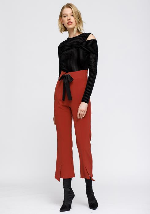 Open Shoulder Stripe Velvet Top