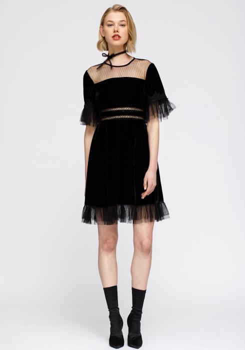 Mesh Contrast Velvet Dress