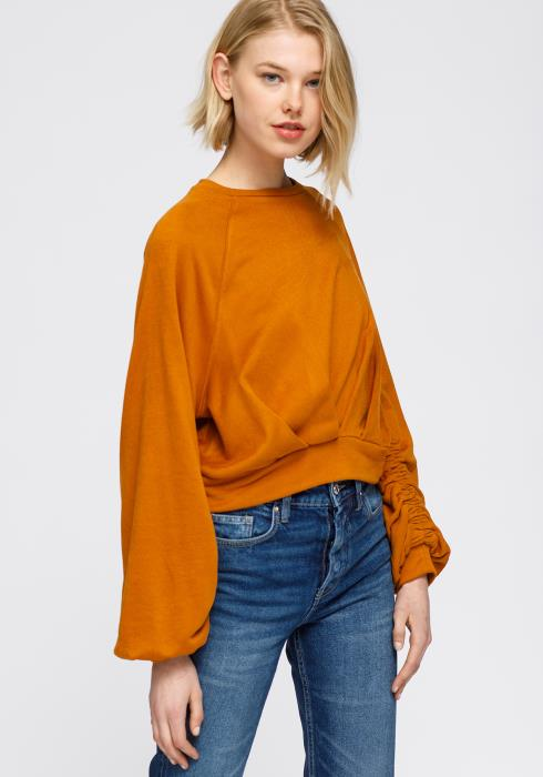 Crewneck Ruched Sleeve Sweatshirt