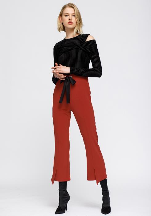 High Waist Front Slit Trouser