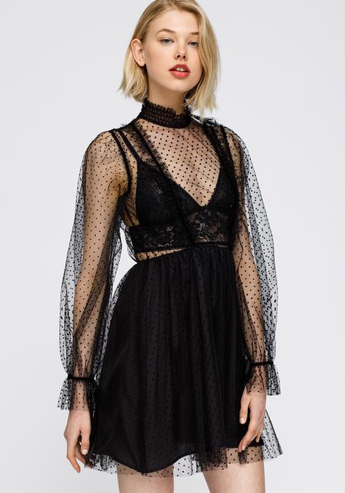 Polka Dot Mesh Smocked neck Flare Dress