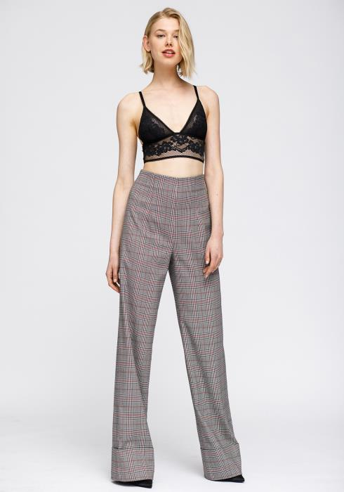 Multi Glen Plaid High Waist Wide Leg Pants