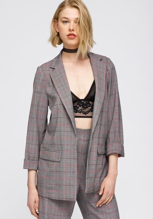 Multi Glen Plaid  Blazer