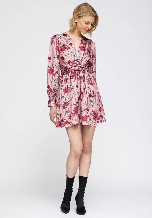 Pajama floral Satin Wrap Front Flared Dress