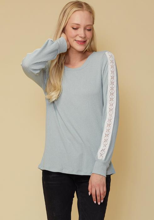 Round Neck Sweater With Long Cuff Sleeves