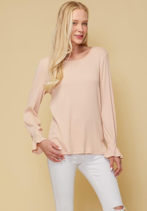 Ribbed Knit Top With Gathered Bell Cuff