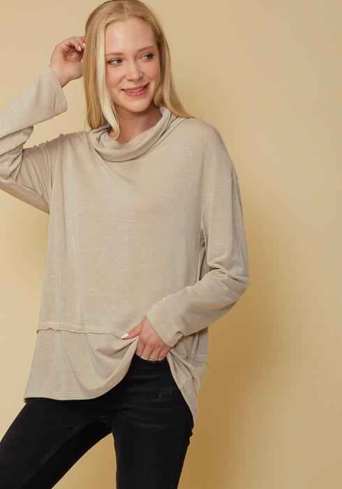 Cowl Neck Drop Shoulder Layered Hem Top
