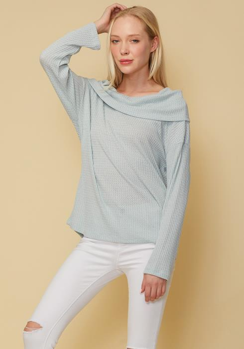 Draped Cowl Neck Drop Shoulder Top