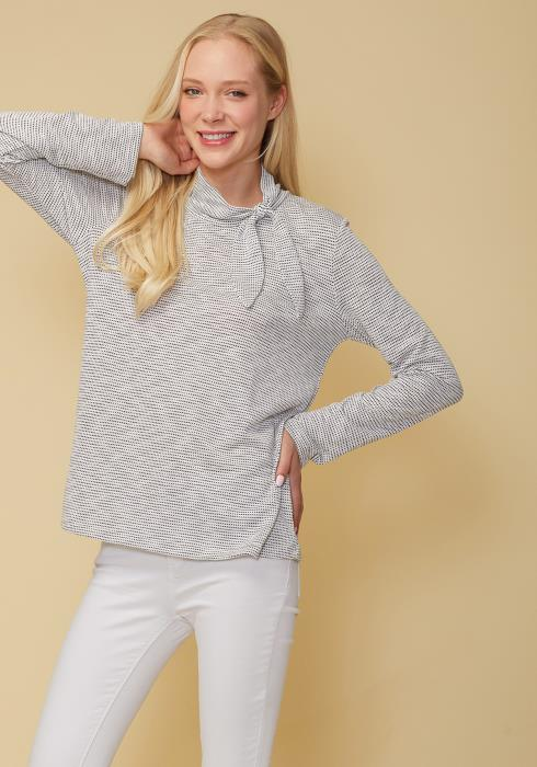 Self-Tie Mock Neck Sweater Top