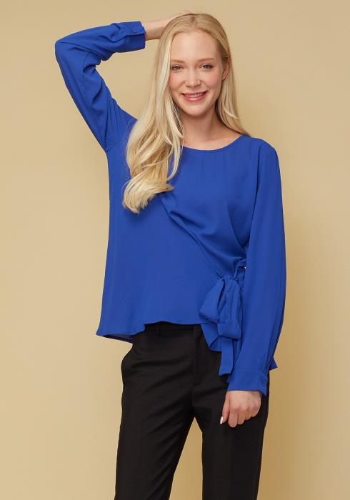 Self-Tie Wrap Front Blouse