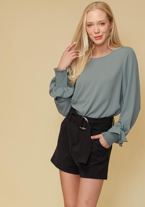 Round Neck Smocked Ruffle Cuff Top