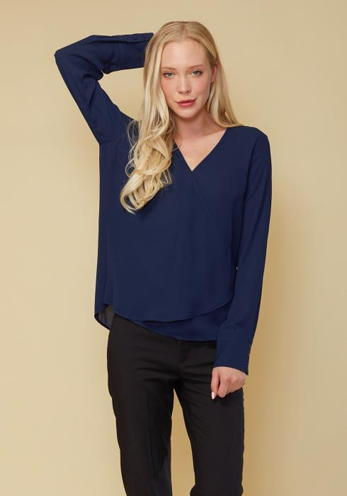 Wrap Front Long Sleeve Blouse