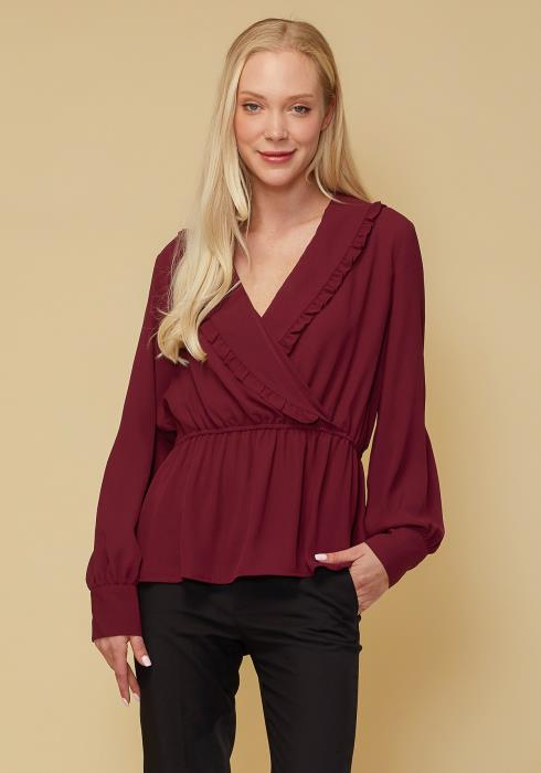 Wrap Front Peplum Blouse Top