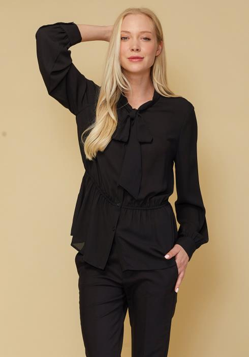 Tie Neck Button Down Peplum Blouse