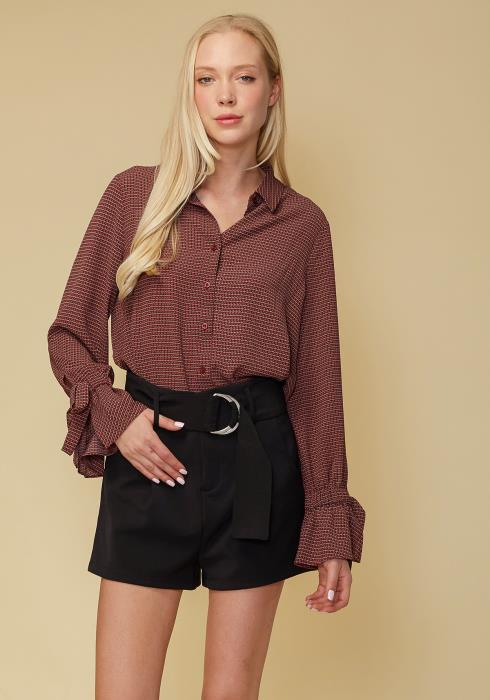 Self-tie Bell Cuff Button Down Shirt Blouse