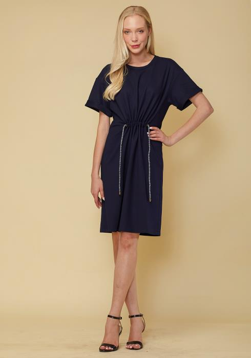 Short Sleeve Shift Dress With Adjustable Waist Strap