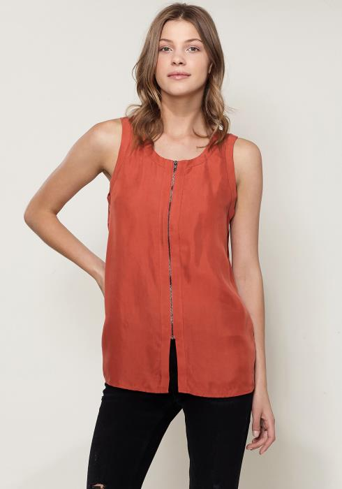 Ro&De Noir Sleeveless Zip Up Top