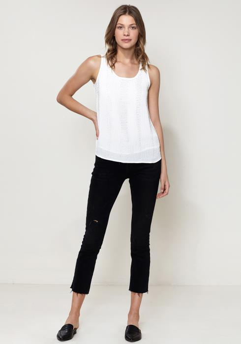 Ro&De Noir Embellished Sleeveless Top
