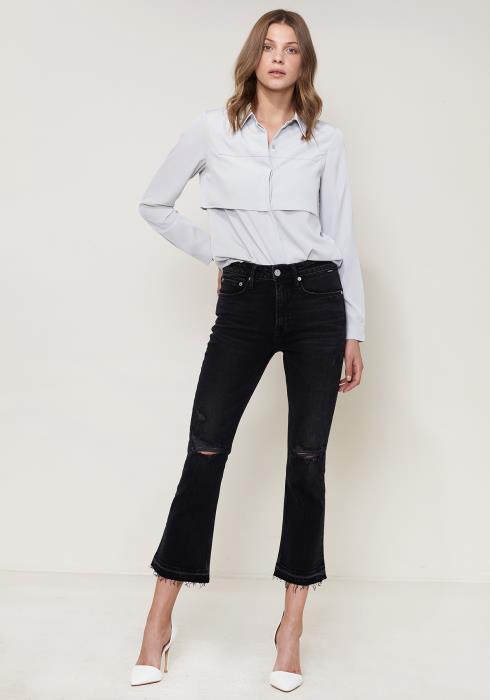 f4a79fbee Pleione Women's Button Down Velvet Shirt Blouse With Tie Hem ...