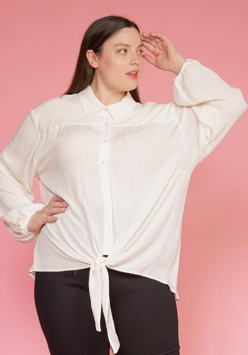 Plus Size Pleated Tie Hem Button Down Blouse