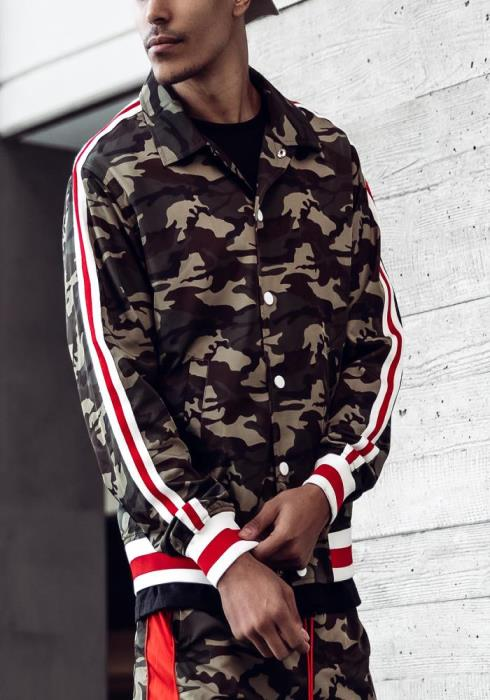 Blank State Collared Camo Jacket with Stripe