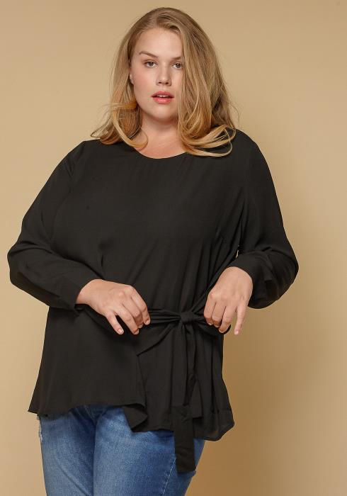 Pleione Plus Size Self-Tie Wrap Front Blouse