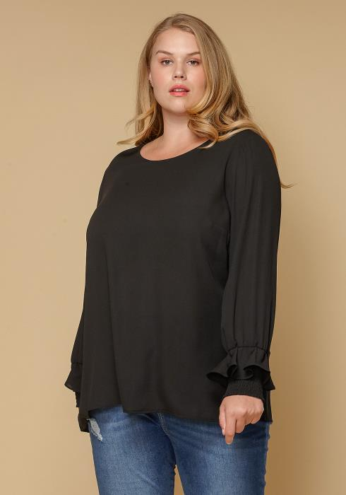 Pleione Plus Size Round Neck Smocked Ruffle Cuff Top