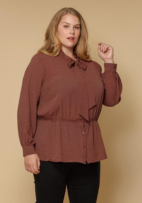 Pleione Plus Size Tie Neck Button Down Peplum Blouse