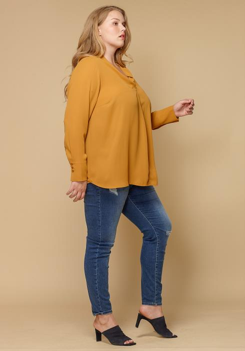 Pleione Plus Size Pleated V-neck Long Sleeve Blouse