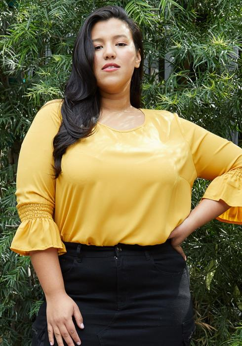 Pleione Plus Size Pleated Blouse With Smocked 3/4 Bell Sleeve