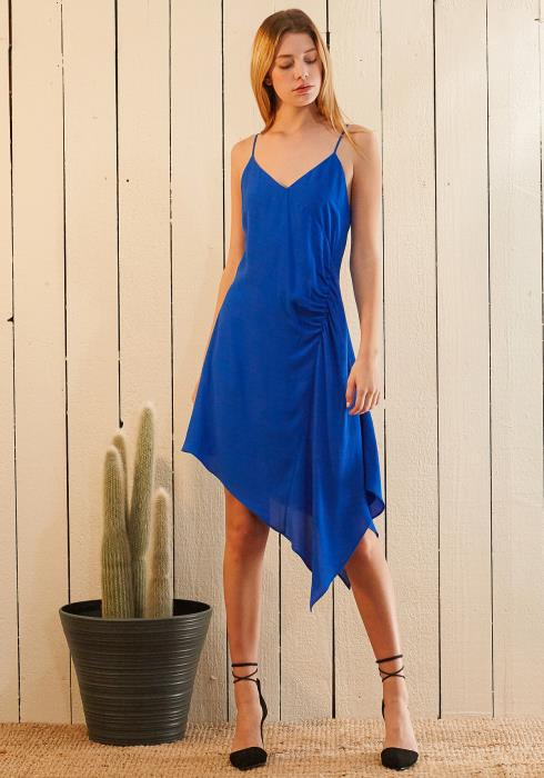 Nurode Solid Asymmetrical Hem V-Neck  Dress