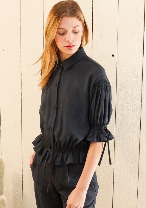 Nurode Button Front Tie Hem Blouse