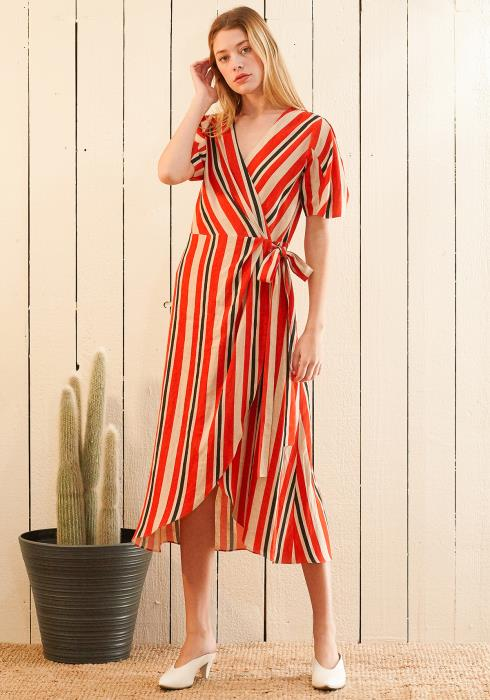 Nurode Puff Sleeve Wrap Dress