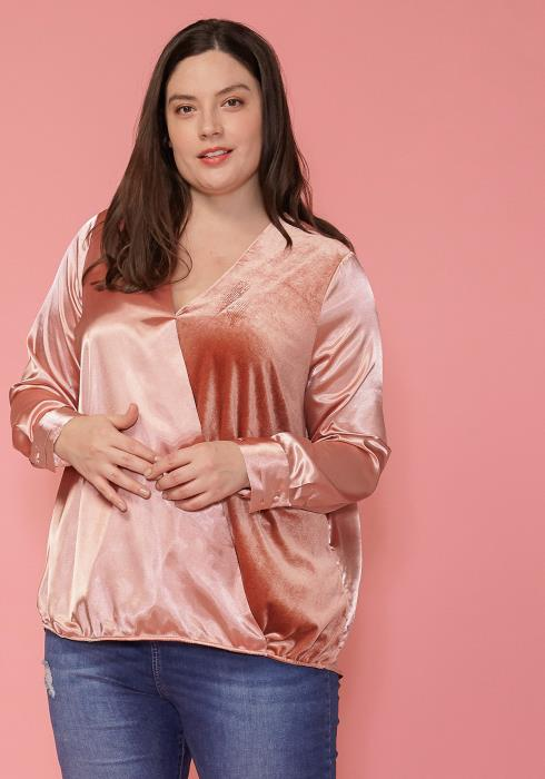 Pleione Plus Size Charmuese Contrast Cross Front Blouse