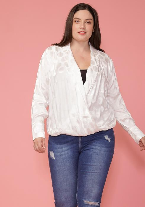 Pleione Plus Size V-neck Surplice Front Pajama Blouse
