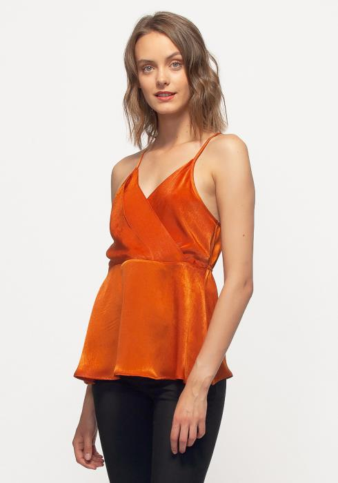 Nurode Wrap Front Washed Satin Cami