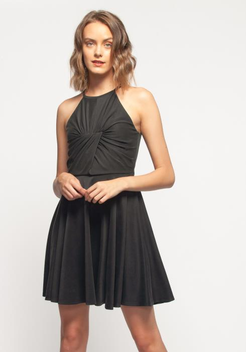 Nurode Halter Neck Gathered Front Dress