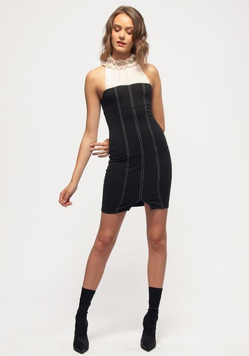Nurode Haltered Mock Neck Bodycon Mini Dress