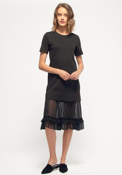 Nurode Sheer Contrast Ruffle Hem Midi Dress
