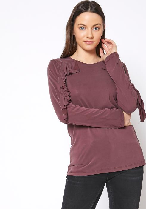 Ro&De Noir Ruffle Long Sleeve Top