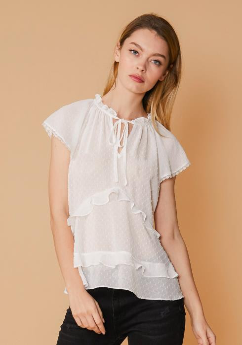Nurode Swiss Dot Layered Ruffle Top