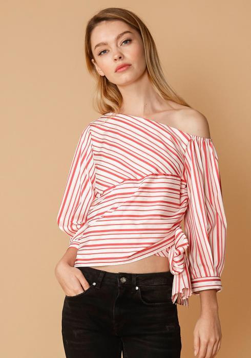 Nurode Satin Stripe One Shoulder Blouse