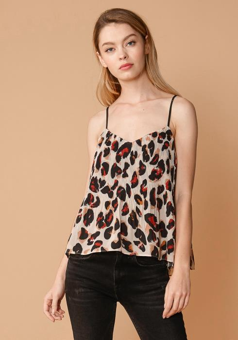 Nurode Leopard Pleated Cami