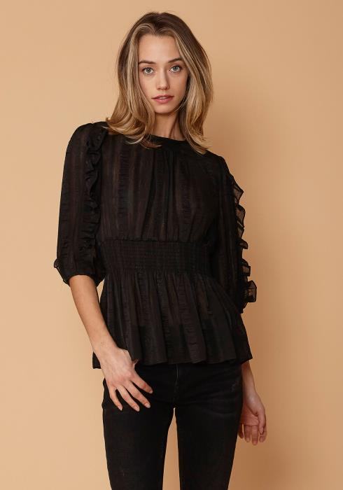 Nurode Sheer Smocked Waist Top