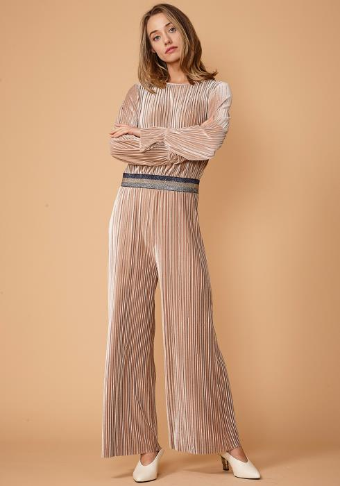 Nurode Glitter Waistband Pleated Jumpsuit