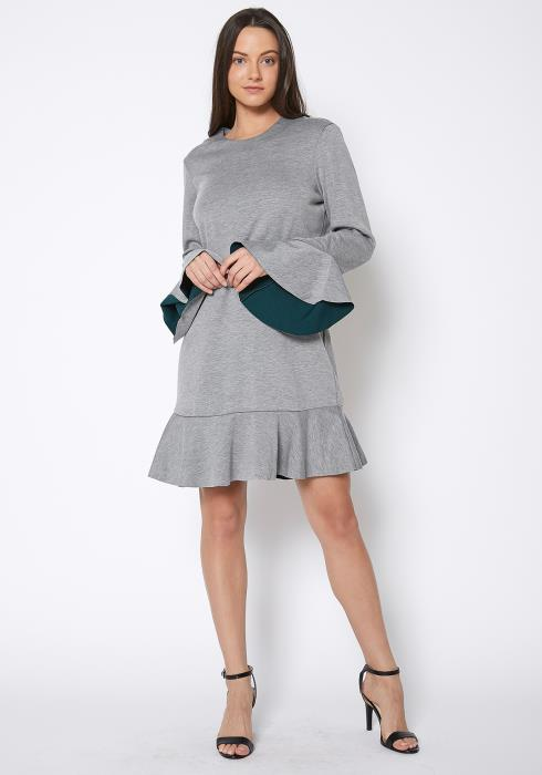 Ro&De Noir Bell Sleeve Flared Hem Dress