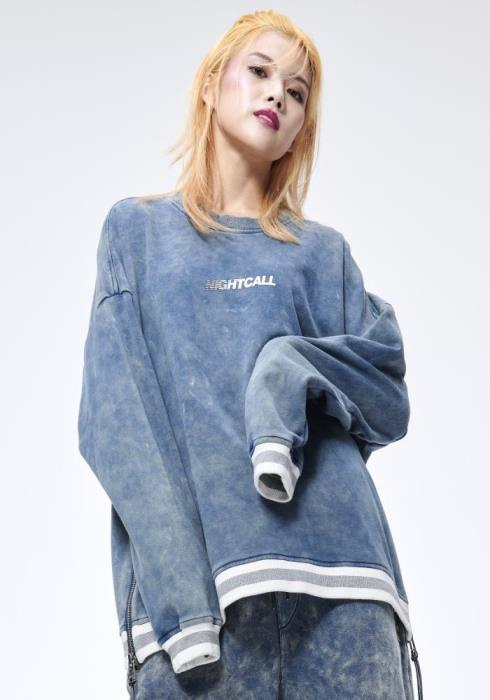 KONUS LS SWEATSHIRT W/ACID WASH AND ZIPPER / STEVE