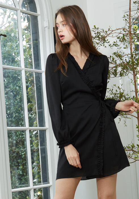 Nurode Ruffle Trim Long Sleeve Wrap Dress