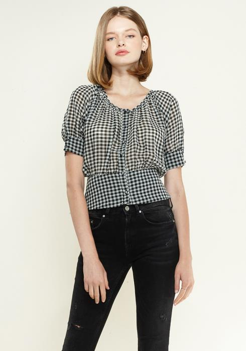 Nurode Button Down Peplum Cropped Blouse
