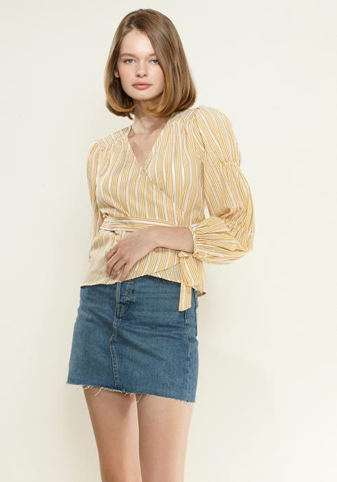 Nurode Smocked Sleeve Wrap Blouse